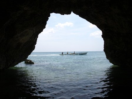 The cave exit to the sea